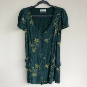 Urban Outfitters Size L Green Floral Shift Dress